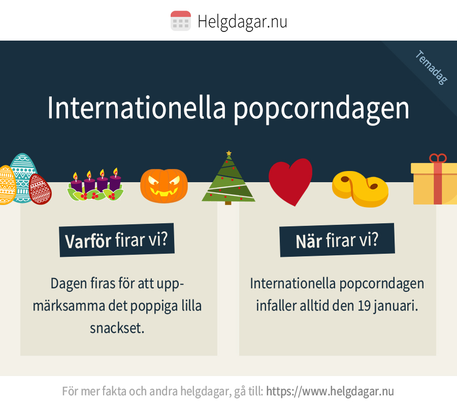 Faktakort om den internationella popcorndagen